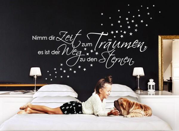 """Wandtattoo Spruch """"Nimm dir Zeit zum Träumen..."""" Sterne 1082W"""