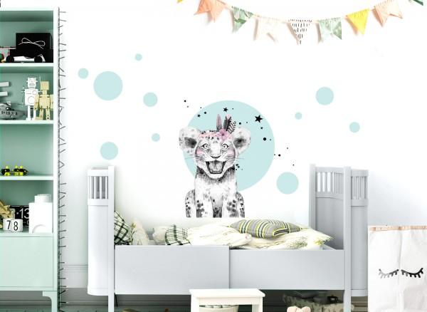 Little Deco Wandtattoo Löwe mit Federn und Kreise DL454
