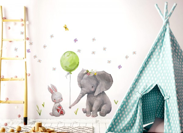 Little Deco Wandtattoo Hase & Elefant mit Ballon Grün DL232
