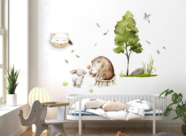 Little Deco Wandtattoo Hase Bär und Baum DL722