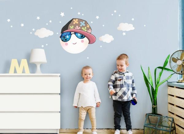 Little Deco Wandtattoo Mond mit Baseballcap & Sonnenbrille DL276