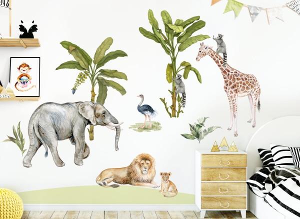 Little Deco Wandtattoo Safari Giraffe Elefant Löwe & Bäume DL698