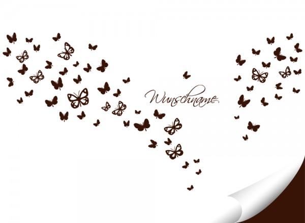 Wandtattoo 63 Schmetterlinge + Wunschname W786