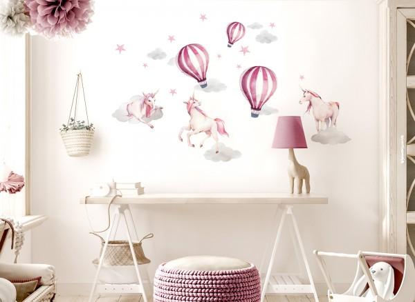Little Deco Wandtattoo Heißluftballons & Einhörner DL530