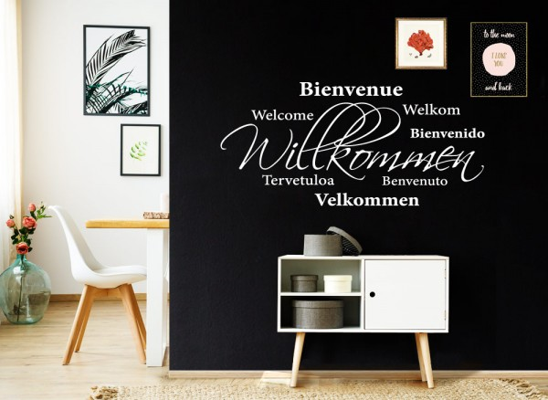 Wandtattoo Willkommen in verschiedenen Sprachen W5088