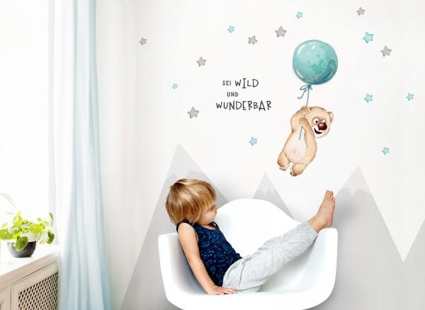 Little Deco Wandtattoo Sei wild & Teddybär mit Luftballon DL329