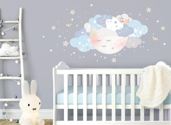 Little Deco Wandtattoo Wolken & Mond Weiß / Blau DL241