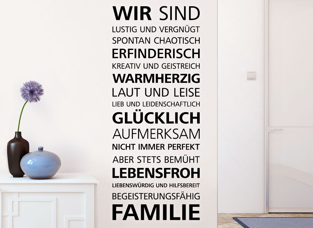 wandtattoo spruch wir sind familie e025 spr che. Black Bedroom Furniture Sets. Home Design Ideas
