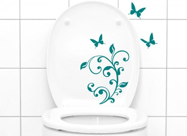Wandtattoo WC Aufkleber Blumenranke Schmetterlinge W1109