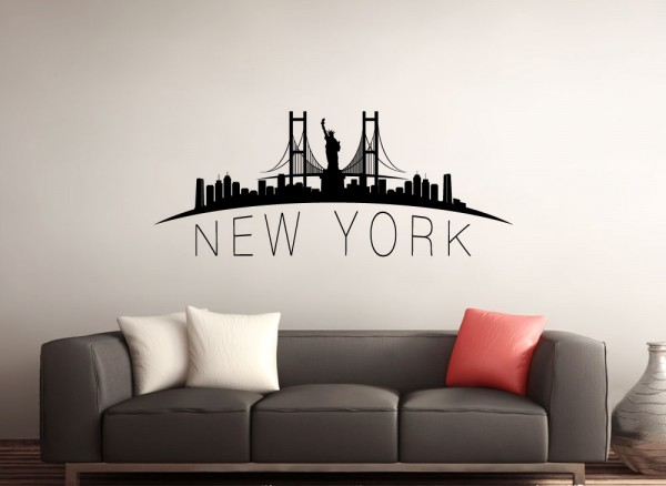 Delightful Wandtattoo New York Skyline G149