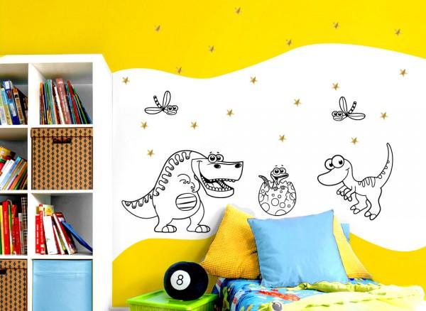 Wandtattoo Dinosaurier, Libellen und Sterne in gold W5514