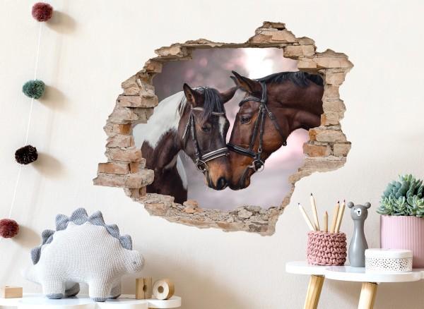Little Deco Wandtattoo 3D Effekt Loch Pferde DL624