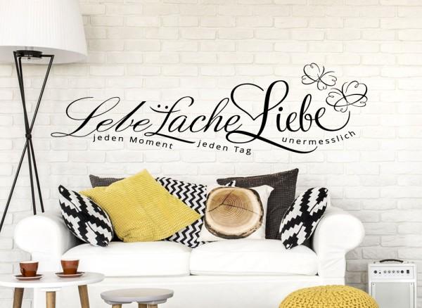 """Wandtattoo Zitat """"Lebe... Lache... Liebe..."""" + Schmetterlinge W895"""
