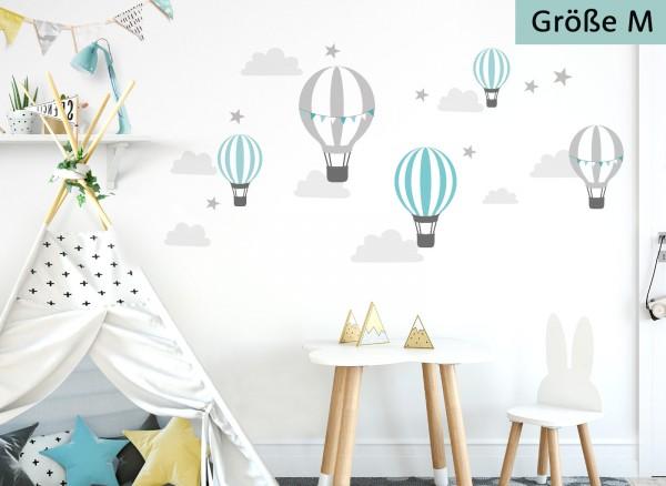 Little Deco Wandtattoo Heißluftballons Mint Grau DL522