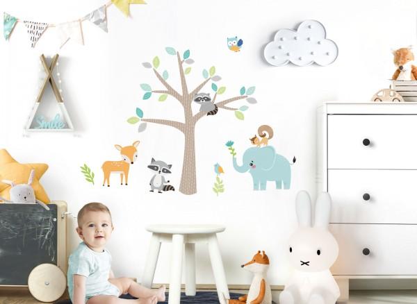 Little Deco Wandtattoo Tiere am Baum DL517