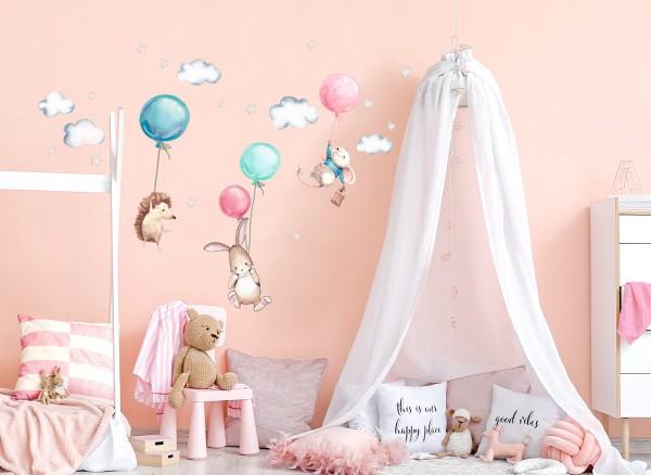 Little Deco Wandtattoo Igel Maus und Hase mit Luftballon DL507