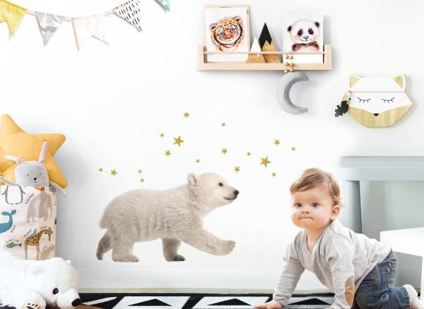 Little Deco Wandtattoo Eisbär mit Sterne DL613