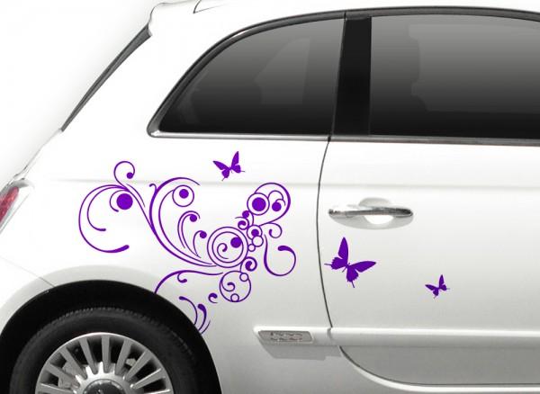 Autoaufkleber Blumenranke + Schmetterlinge X7132