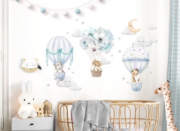 Little Deco Wandtattoo Tiere & Heißluftballons Blau DL659