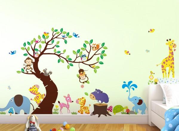 Wandtattoo XXL Premium-Set Baum Elefanten Affen W5370