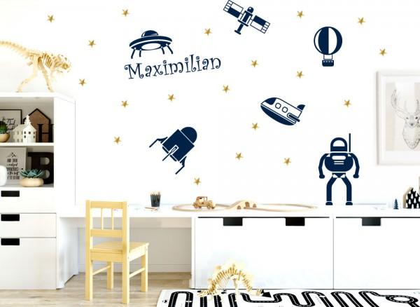 Wandtattoo Weltraum Ufos + Wunschname + goldene Sterne W5428