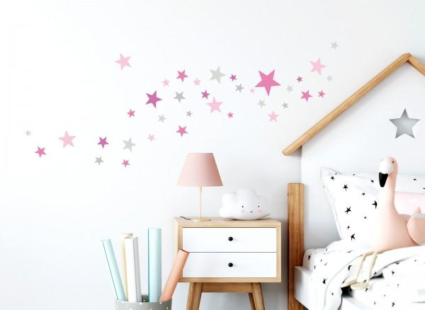 Little Deco Wandtattoo 60 Sterne pink rosa grau DL405