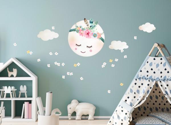 Little Deco Wandtattoo Wolken Mond & Blumen DL265