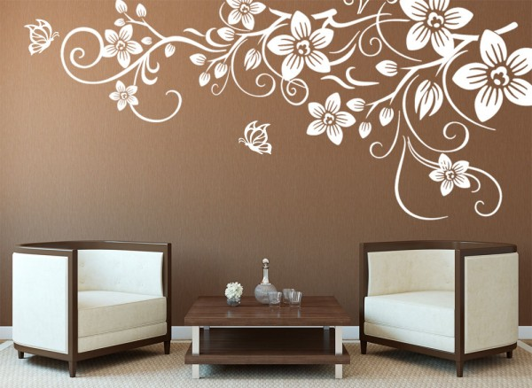 wall stencils for living room blumenranke wandtattoo mit schmetterlingen w3054 grandora de 22071