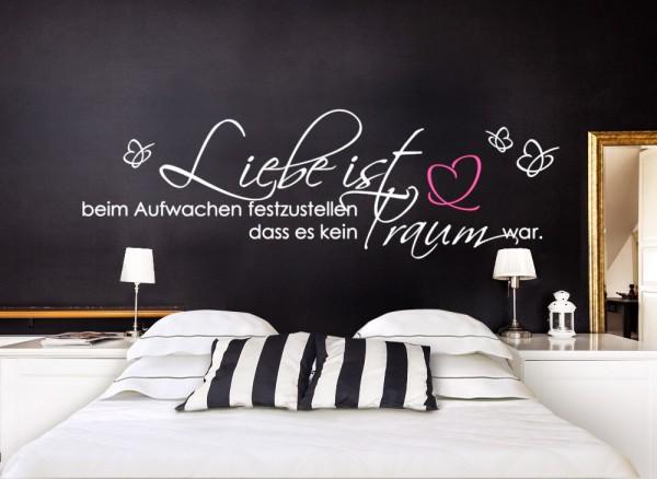Wandtattoo Zitat Liebe ist... mit Schmetterling + Herz W5095