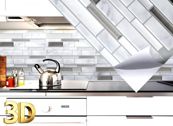 4x 3D Fliesenaufkleber 27 x 25,4 cm grau marmor silber dunkelgrau metallic Ziegel W5533