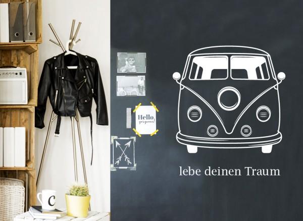 Wandtattoo lebe deine Traum T1 Bus passend für IKEA HEMNES Kommode W5231