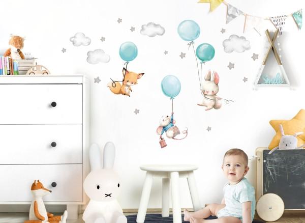 Little Deco Wandtattoo Fuchs Maus und Hase mit Luftballon DL610