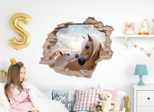 Little Deco Wandtattoo 3D Loch in der Wand mit Pferden DL630