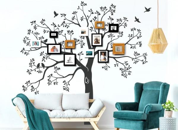 Wandtattoo XXL Baum Mit Ästen, Blättern Und Vögeln W5480