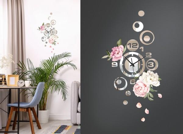 Design Wanduhr Spiegelglas mit Blumendesign DL422
