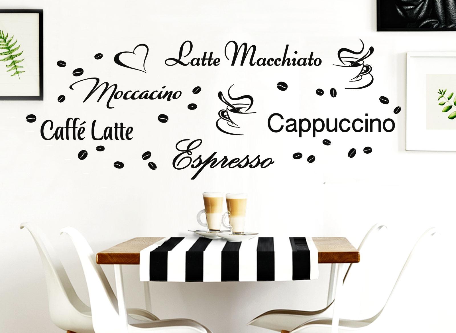 Großartig Wandtattoo Anbringen Beste Wahl - Latte Macchiato Moccacino Csuperbuccino Espresso Caffe