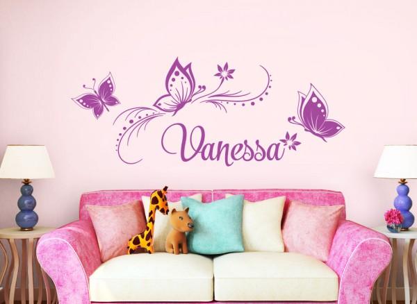 Wandtattoo Wunschname mit Blüten & Schmetterlingen W5135