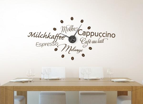 Wandtattoo Uhr Kaffeesorten W5062