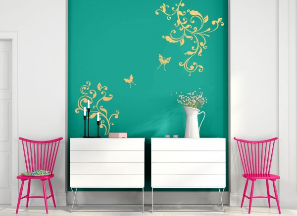 Wandtattoo 2-teilige Blumenranke mit Schmetterlingen W693