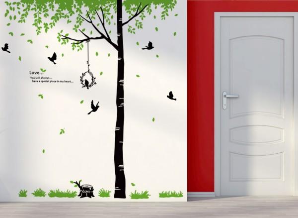 Wandtattoo baum mit bl ttern und vogel w5185 b ume ste wohnzimmer wandtattoos nach - Vogel wandtattoo ...