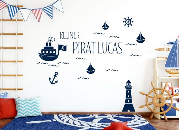 Wandtattoo Kleiner Pirat + Wunschname + Schiffe Leuchtturm W5429
