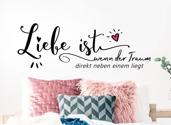 Wandtattoo Zitat Liebe ist.. mit Herz in Pink W5552