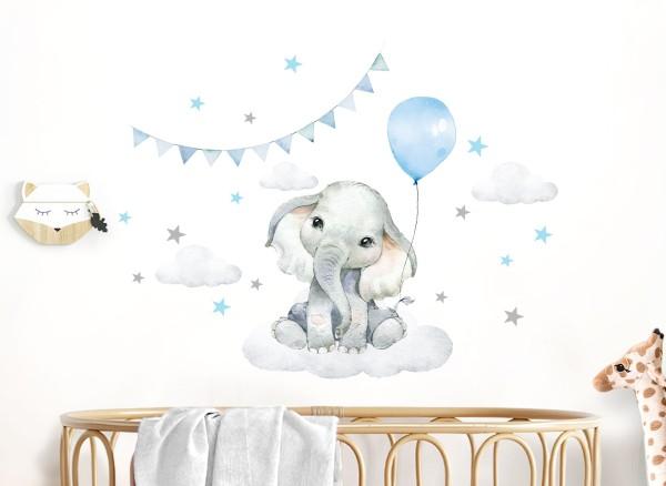 Little Deco Wandtattoo Elefant mit Luftballon blau & Sterne DL684