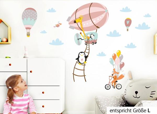 Little Deco Wandtattoo Tiere im Zeppelin Fuchs auf Fahrrad Lachs Grau Rosa DL225