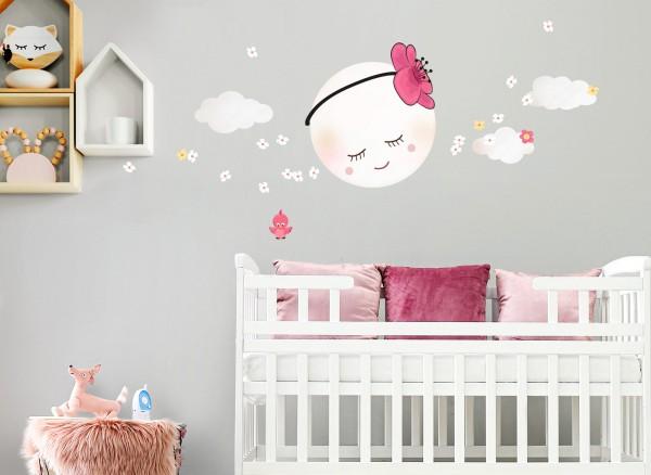 Little Deco Wandtattoo Mond mit Blume & Wolken DL275