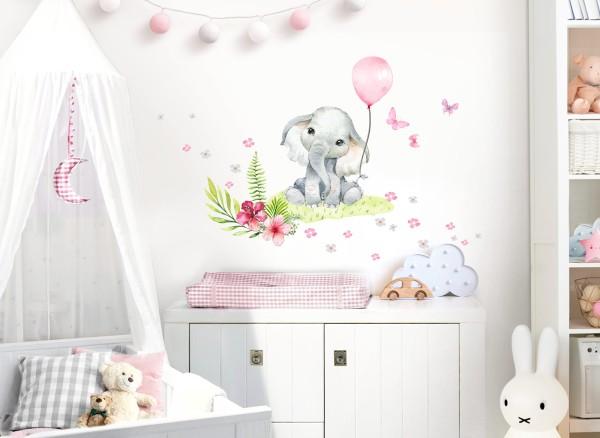 Little Deco Wandtattoo Elefant Blumen & rosa Luftballon DL694