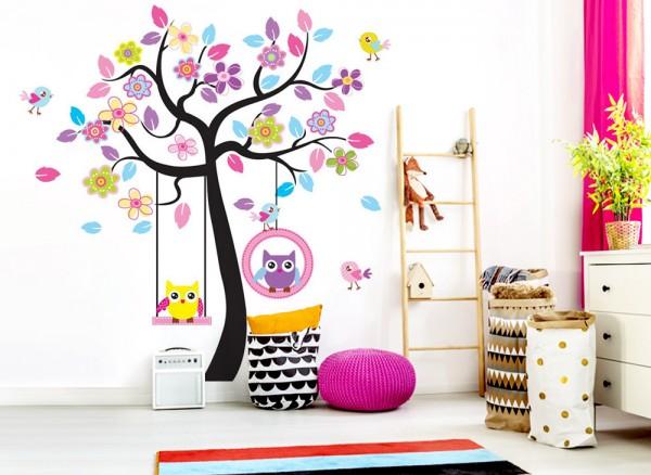 wandtattoo baum mit eulen auf einer schaukel w918 b ume ste kinderzimmer wandtattoos. Black Bedroom Furniture Sets. Home Design Ideas