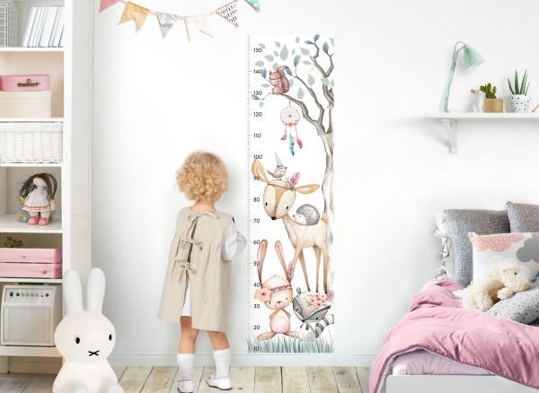 Little Deco Wandtattoo Messlatte 150cm Reh Hase Waschbär Igel DL542
