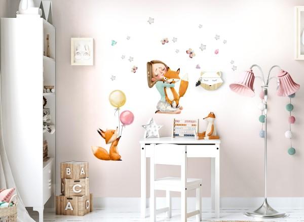 Little Deco Wandtattoo Mädchen mit Füchsen & Luftballons DL690