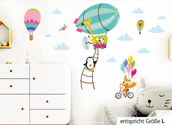 Little Deco Wandtattoo Tiere im Zeppelin Fuchs auf Fahrrad Türkis Rosa Grün DL223